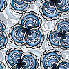 Vector clipart:  seamless pattern with abstract flowers in blue