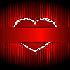 Vector clipart: red heart behind the ribbon
