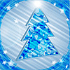 Vector clipart: blue christmas fir-tree with shiny stars