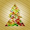 Векторный клипарт: новогодняя елка из звезд