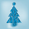 Vector clipart: blue christmas tree made of snowflakes