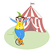 cheerful clown unicycling in front of circus tent