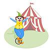 Векторный клипарт: веселый клоун unicycling перед палаткой цирка