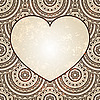 Vector clipart: heart on seamless oriental floral background