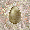 golden easter egg on seamless floral background
