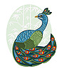 Vector clipart: chinese style peacock