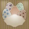 Векторный клипарт: пасхальная открытка с яйцами и кружевной салфеткой