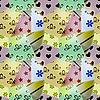 seamless retro pattern of small textile pieces