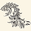 Vector clipart: ornamental monochrome fish