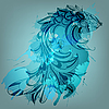 Vector clipart: background with blue fish and grungy splashes