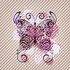 фон с бабочкой, брызги и полосы