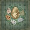 Vector clipart: easter greeting card with golden and retro colorful eggs