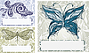 Vector clipart: set with butterfly, dragonfly, and fish.vinta