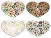 hearts with spring floral patterns