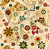 seamless pattern with paisley elements and flowers
