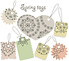 spring tags with floral pattern