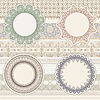 Vector clipart: lacy napkins on seamless pattern