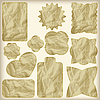 set of crumpled paper golden vintage tags