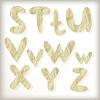 Vector clipart: set letters cut of golden foil