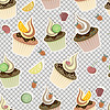 seamless pattern with cupcakes, fruits and berries