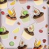 бесшовные модели с кексы, фрукты и ягоды
