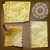 Vector clipart: Scrap template of vintage paper piecesand lacy flower