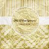 Vector clipart: vintage pattern, golden napkin on floral and striped back
