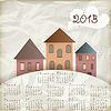 Vektor Cliparts: Retro-Hintergrund mit alten Häusern, Platz für Ihren Text