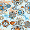 Vector clipart: seamless abstract pattern with doodle flowers