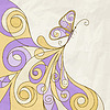 Vector clipart: butterfly pattern on crumpled paper