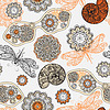 Vector clipart: seamless pattern with sunglasses, flowers, shells,and