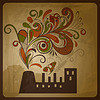 Vector clipart: eco concept composition with factory and floral exhau