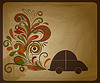 Vector clipart: eco concept composition with car and floral exhaust co