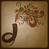 Vector clipart: retro concept composition with horn andsoundl music