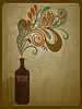 Vector clipart: retro concept composition with stylized bottle of