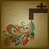 Vector clipart: eco concept with water tap and floral pattern flowing f