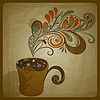 Vector clipart: retro concept composition with stylized cup of coffee