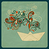 Vector clipart: eco concept with ship and floral pattern instead of smo