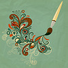 Vector clipart: concept cartoon brush painting branch
