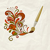 Vector clipart: concept cartoon brush painting floral design element o