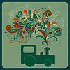 Vector clipart: eco concept with steam train and floral pattern instead