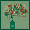 Vector clipart: ecology concept with small house and floral smoke