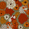 Vector clipart: Seamless Pattern with Funky Flowers