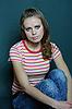 Фото 300 DPI: Девушка в полосатой футболке
