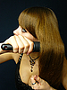 Girl combs her hairs | Stock Foto