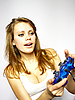 Beautiful girl plays video game | Stock Foto