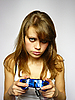 Girl plays video game | Stock Foto
