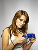 ID 3048978 | Attractive brown-haired woman plays video game | High resolution stock photo | CLIPARTO