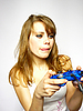 ID 3048984   Woman plays video game   High resolution stock photo   CLIPARTO