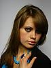 Kobieta z niebieski genialny | Stock Foto